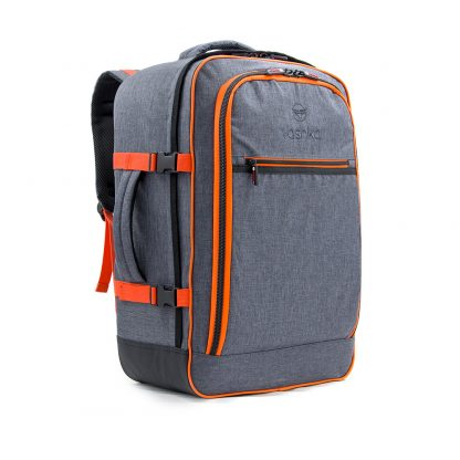 grey travel backpack side