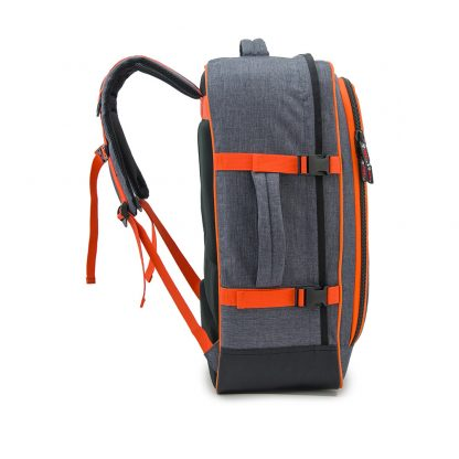 grey travel backpack side view
