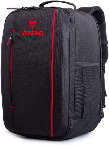 side view Vashka black backpack travel bag