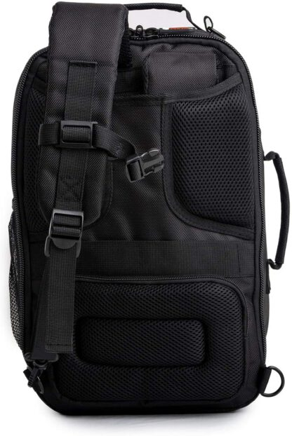 back view Vashka black backpack travel bag