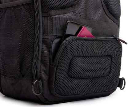 back pocket view Vashka black backpack travel bag