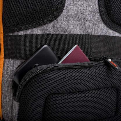 back pocket view Vashka black backpack travel bag